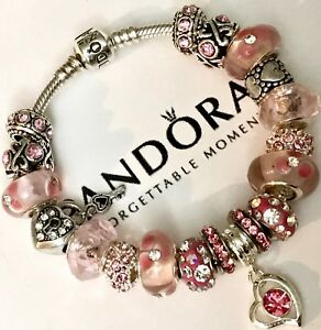 13d9b80319d Image is loading Authentic-Pandora-Silver-Charm-Bracelet-With-Pink-Love-