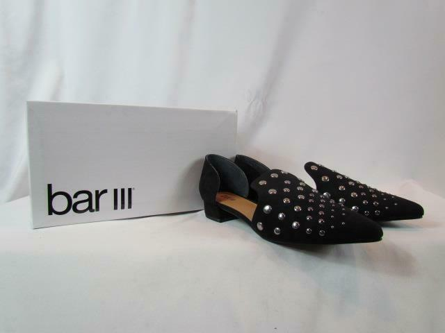NIB Bar III Loafer Low Heel Black W/ Reflective Accents Pointed Toe Size 9M