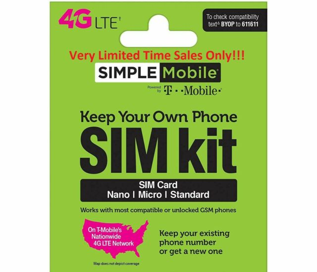 Simple Mobile Prepaid SIMCard + $50 Plan X 2 Month Truly Unlimited LTE & Hotspot