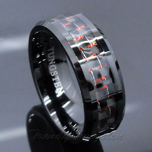image is loading men 039 s tungsten ring with carbon fiber - Red Wedding Rings