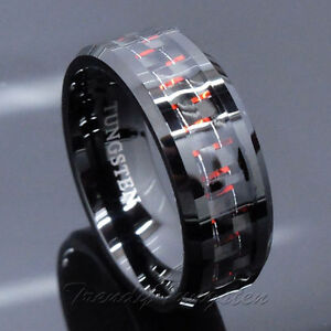 Men S Tungsten Ring With Carbon Fiber 8mm Black And Red