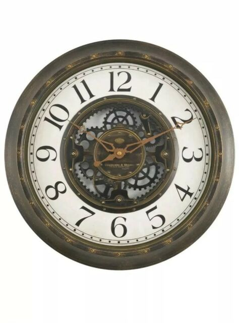 Gears 16 Large Brushed Oil Rubbed Bronze Wall Round Clock Quartz New