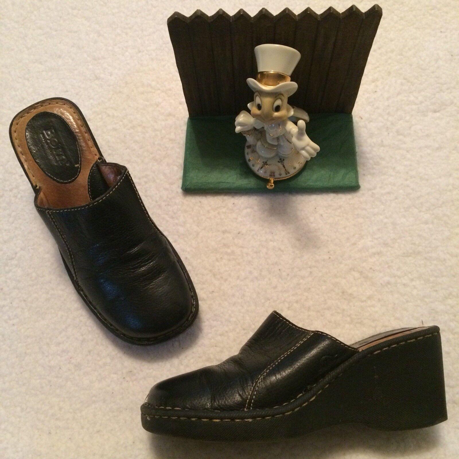 BORN Black Nubuck Leather Slip On Size 7 US 38 Euro Clog Mule shoes W3093 NICE
