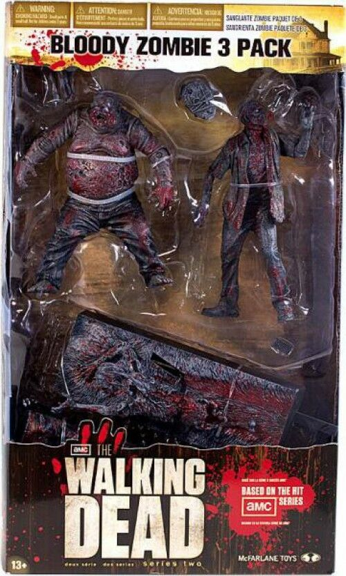 McFarlane Toys The Walking Dead AMC TV Bloody Zombie 3-Pack Action Figure Set