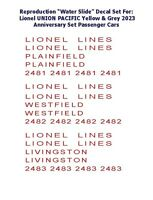 Lionel Pass Car Decal Set water Slide 2023 Anniversary Color (red)