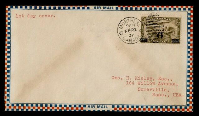 DR WHO 1932 CANADA MONTREAL AIR MAIL OVERPRINT FDC C202364