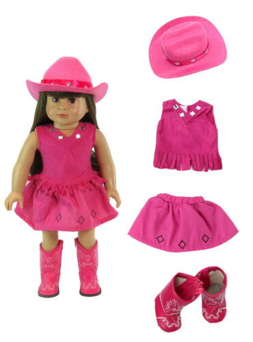 """Doll Clothes 18/"""" Western Cowgirl Skirt Hat Boots Hot Pink For American Girl"""