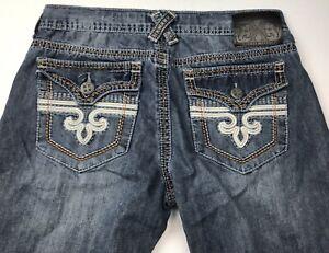 Men-039-s-Xtreme-Couture-Blue-Flap-Pocket-Cotton-Blue-Jeans-Size-34-x-29-Distressed