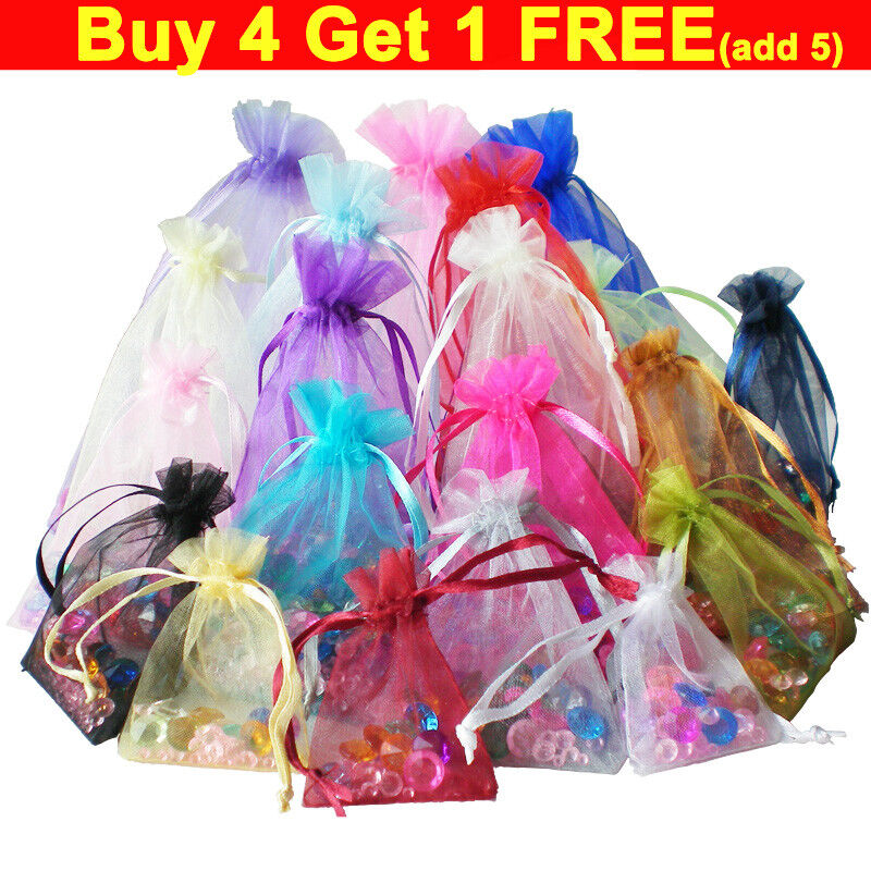Small Large Organza Gift Bag Pouches Wedding Party Jewellery Favour 100 50 25