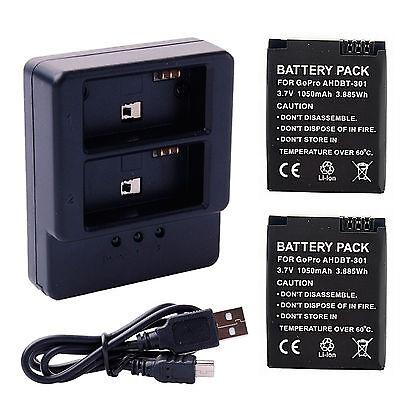 2pcs 3.7V 1050mAh Batería de Doble Cargador USB para GoPro AHDBT-301 Heroe 3 3+
