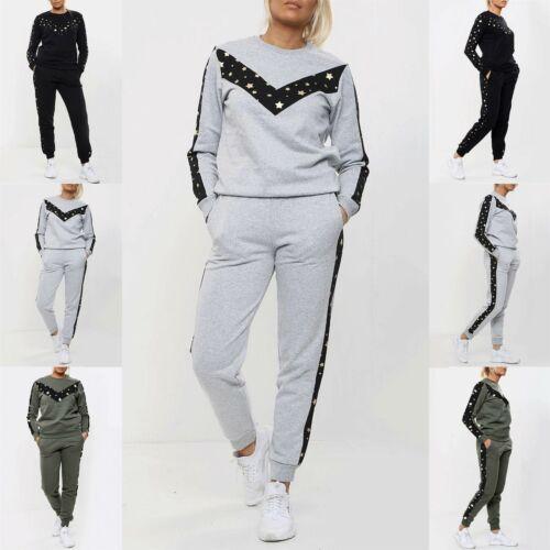 Da Donna con stelle stampate in lana scollo tondo Lounge Wear Leggero Tuta Da Ginnastica