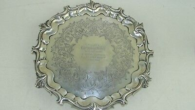 """Vintage Sterling Silver 10"""" Plate Circa 1850 From Ship Waterloo To Capt Harvey Fragrant Aroma"""