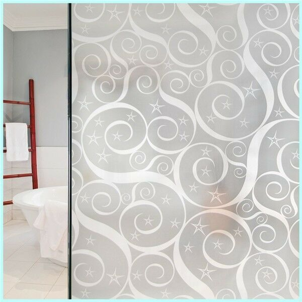 Privacy Window Film, Frosted Star & Swirl Design, Self Adhesive, Window Cover