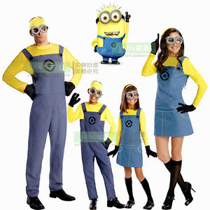 kinder erwachsene halloween karneval party kost m minions cosplay mit brille ebay. Black Bedroom Furniture Sets. Home Design Ideas