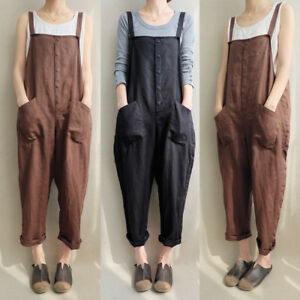 2019 Newest Hot Korea Style Womens Cotton Linen Sleeveless Pocket Decoration Dungarees Jumpsuit Loose Pants Overalls Playsuits Women's Clothing