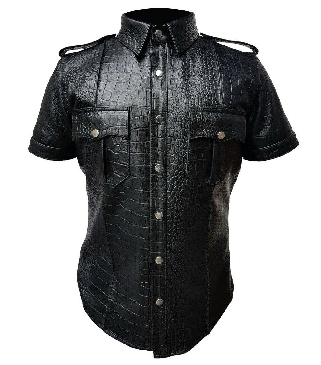 Mens Police Shirt Uniform Alligator Crocodile Print Leather Shirt blueF