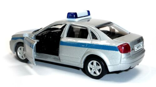 Dt 11,5 cm coche modelo Welly mercancía nueva coche de policía uso vehículo audi a4 3.0 aprox