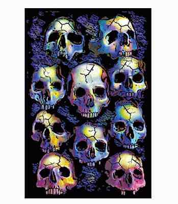 23X35 FLOCKED GOTHIC A-17LO BLACKLIGHT POSTER WALL OF SKULLS