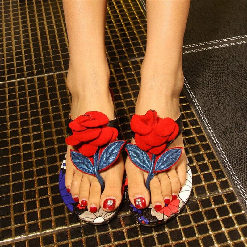 Roma Gladiator femmes's Summer beach Flipflops Casual Flat heel Sandals Floral sz