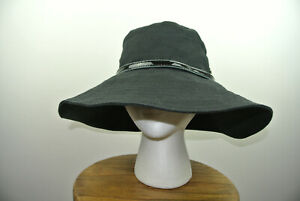 a20201462 Details about HELEN KAMINSKI Mereanna100% Linen Wide Brim Hat Patent  Leather Band in Black O/S
