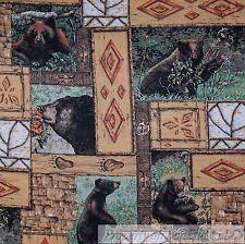 BonEful Fabric FQ Cotton Quilt Brown Wood Grain Black Bear Green Tree Log Cabin