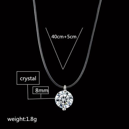 Femmes Mode Cristal Collier Invisible Ligne Zircon clavicule chaîne accessoires