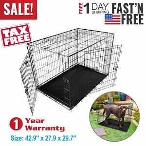 Dog-Cage-42-inch-Puppy-Crate-XL-Cozy-Pet-Black-Dog-Crates-Folding-Metal-Cages