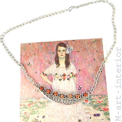 Jugendstil Silber Koralle Collier Halskette Tracht Silver Coral Necklace C. 1900 Hohe Sicherheit