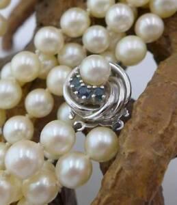 Praechtige-zweireihige-Perlen-Halskette-mit-Saphiren-und-585-Weissgold