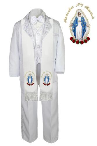 6pc Boys Paisley Christening Baptism White Tuxedo Virgin Mary Scarf Stole