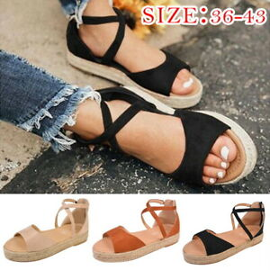 Women-Casual-Open-Toe-Flat-Sandals-Ankle-Strap-Zipper-Shoes-Summer-Size-6-9-5-US