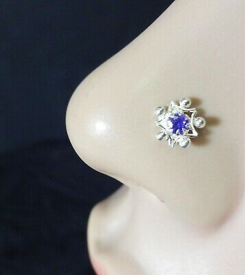 Body Jewelry Amethyst Nose Stud White Gold Nose Stud Flower Nose Stud Silver Nose Screw 20g