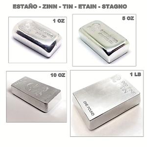 Detalles de Lingotes de estaño (Sn) de varios pesos: 1, 5, 10 onzas, 1  libra, 1kg