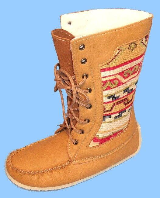 Nuevo para mujer Talla 8 Alce ocultar Cuero Cuero Cuero botas-Artesa embutido-Suela De Goma-Laceup-Zapatos  opciones a bajo precio