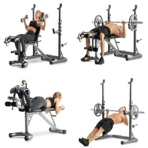 golds gym xrs20 with squat rack weight lifting bench press