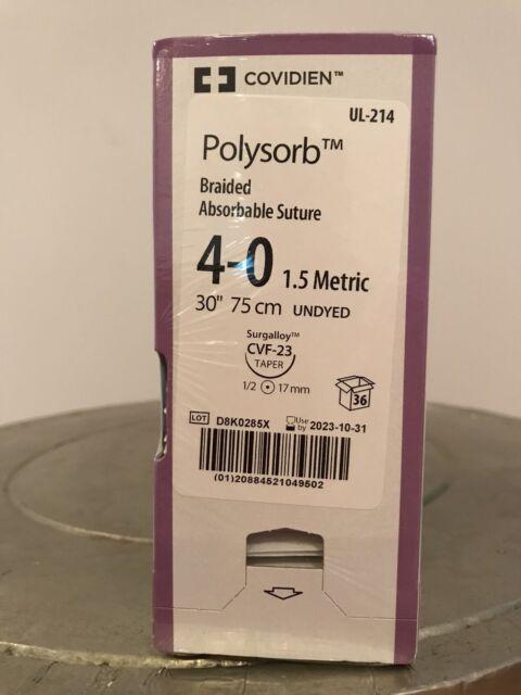 "Covidien Polysorb geflochtene resorbierbares Nahtmaterial 4-0 17 mm 30"" 75 cm Kegel (36 PCs)"