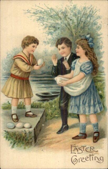 Easter - Cute Children Sharing Eggs c1910 Postcard rpx