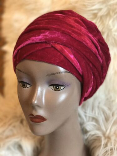 Double Velvet Turban head wrap in Pink Other colours Available
