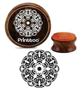 Printtoo Floral Mandala Muster Holz Stempel Karte machen Runde Briefmarken-2-Ahm