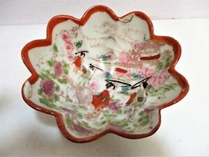 Antique-Japanese-Art-Porcelain-Scalloped-Fluted-Edge-Footed-Bowl-Hand-Painted