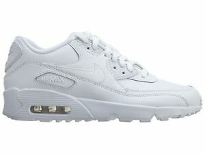 Details about NIKE AIR MAX 90 LTR 833412 100 GS YOUTH ALL WHITE LEATHER PREMIUM BOYS RETRO 95
