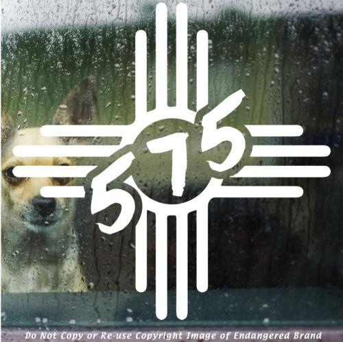 ZIA  575 area code design Native American NM state flag New Mexico sticker