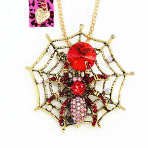 Women-039-s-Crystal-Spider-on-Web-Pendant-Chain-Betsey-Johnson-Necklace-Brooch-Pin