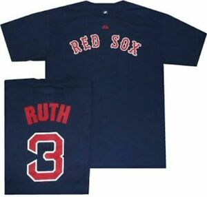 official photos 52d6b c5803 Details about Boston Red Sox Babe Ruth Name and Number Majestic T Shirt