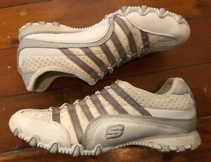 White Silver Leather Skechers Slip