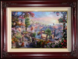 Thomas-Kinkade-Lady-and-the-Tramp-24x36-S-N-w-Heart-Remarque-Disney-Canvas