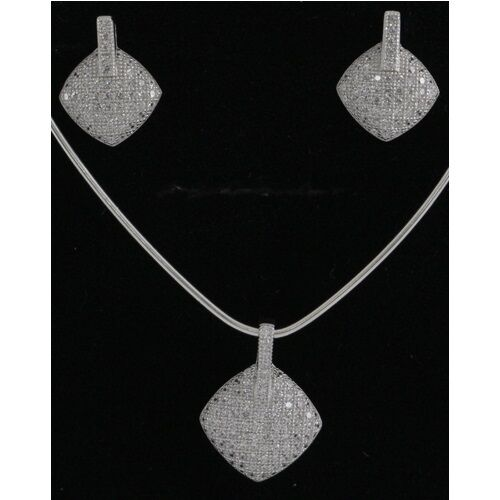 Silver CZ Earring And Pendant Set Fine Jewelry Great Value #OASET11