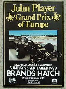 european grand prix brands hatch 1983 formula one f1 race official programme ebay. Black Bedroom Furniture Sets. Home Design Ideas
