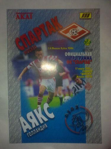 Programme Spartak Moscow Russia Ajax Amsterdam Holland 199798 UEFA Cup