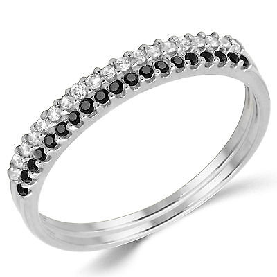 14K Solid White Gold CZ Cubic Zirconia Stackable Anniversary Ring Band 2 Pieces